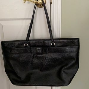 Kate Spade ostrich black tote with decorative bow
